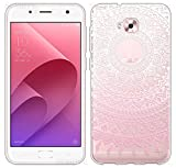 Sunrive Für Asus Zenfone Live Plus ZB553KL 5,5 Zoll Hülle Silikon, Transparent Handyhülle Schutzhülle Etui Hülle Backcover(TPU Blume rosa)+Gratis Universal Eingabestift