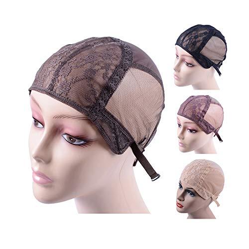 Bonnet de perruque en dentelle double pour faire des perruques avec des sangles réglables dans le dos Filet à cheveux sans colle (brun foncé M 54 cm)