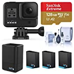 Gopro hero8 black, waterproof digital sports and action camera with touch screen 4k uhd video 12mp photos, power bundle… 10 kit includes: gopro hero 8 black camera (chdhx-801) | rechargeable battery (1220mah) | curved adhesive mount | mounting buckle | usb-c cable | thumb screw| gopro dual battery charger (gpajdbd001) | 3x gopro rechargeable battery (gpajbat001) | sandisk 128gb extreme uhs-i class 10 v30 u3 microsdxc memory card, sd adapter | prooptic complete optics care and cleaning kit key features: 4k60 video + 12mp photos | hypersmooth 2. 0 video stabilization | timewarp 2. 0 time-lapse video | night time-lapse video | 1080p live streaming | superphoto + improved hdr | foldable mount fingers | liveburst image capture | digital lenses (superview, wide, linear, narrow) | rugged + waterproof 33ft (10m) | 8x slo-mo video | 2-inch intuitive touch screen | face, smile + scene detection | 3 built-in mics with reduced wind noise | usb-c charging | wi-fi + bluetooth enabled warranty: gopro authorized reseller. Includes a limited gopro 1 year usa warranty.