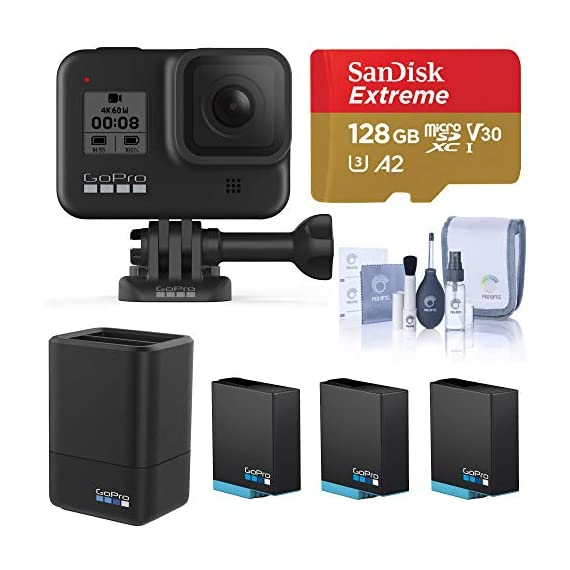 Gopro hero8 black, waterproof digital sports and action camera with touch screen 4k uhd video 12mp photos, power bundle… 1 kit includes: gopro hero 8 black camera (chdhx-801) | rechargeable battery (1220mah) | curved adhesive mount | mounting buckle | usb-c cable | thumb screw| gopro dual battery charger (gpajdbd001) | 3x gopro rechargeable battery (gpajbat001) | sandisk 128gb extreme uhs-i class 10 v30 u3 microsdxc memory card, sd adapter | prooptic complete optics care and cleaning kit key features: 4k60 video + 12mp photos | hypersmooth 2. 0 video stabilization | timewarp 2. 0 time-lapse video | night time-lapse video | 1080p live streaming | superphoto + improved hdr | foldable mount fingers | liveburst image capture | digital lenses (superview, wide, linear, narrow) | rugged + waterproof 33ft (10m) | 8x slo-mo video | 2-inch intuitive touch screen | face, smile + scene detection | 3 built-in mics with reduced wind noise | usb-c charging | wi-fi + bluetooth enabled warranty: gopro authorized reseller. Includes a limited gopro 1 year usa warranty.