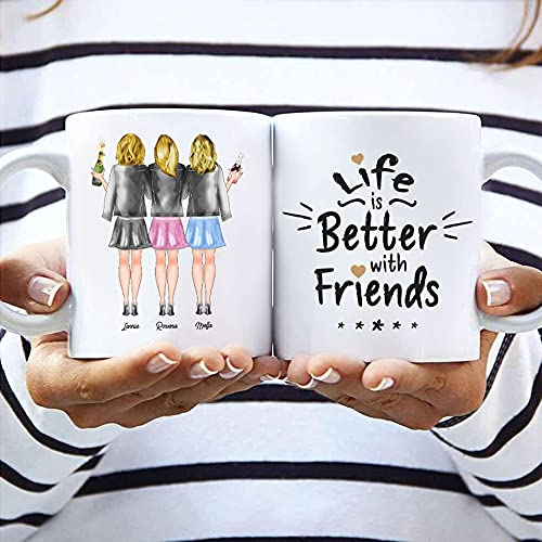 3 Freundinnen Memory Tasse | Personalisiertes Geschenk für deine Beste Freundin