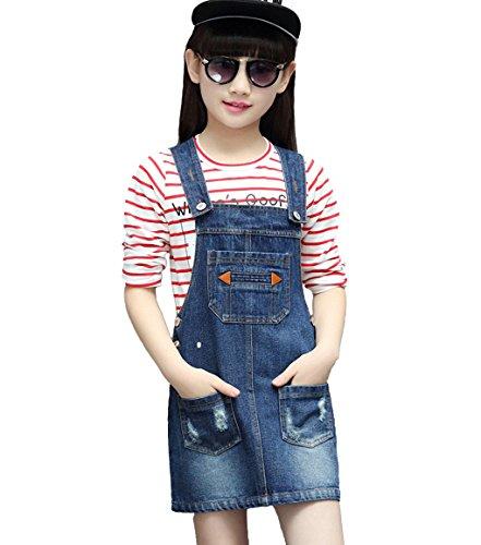 Kidscool Girls Ripped Big Bibs Adjustable Straps Denim Patchwork Overall DressBlue,10-12 Years