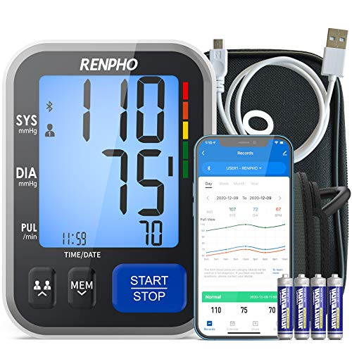 Bluetooth Blood Pressure Monitor, RENPHO Wireless Upper Arm BP Machine for Home Use Large Cuff, Accurate Digital Smart BP Cuffs with Large Display, 2-Users, Free App for iOS Android,Unlimited Memories