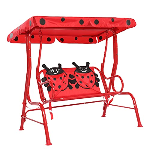 JOYMOR Kids Patio Swing, Upgraded 2-Seats Toddler Porch Swing Glider with Adjustable Canopy and Safety Belt, Outdoor Lounge Chair Swing Bench for Backyard Garden