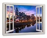 Nashville Skyline Panorama, Fenster Leinwandbild