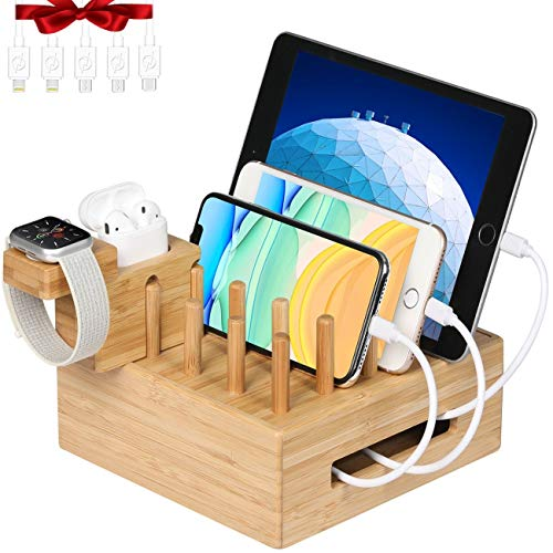 Bamboo Charging Station for Multiple Devices - Darfoo Docking Station Organizer for Cellphone, AirPods, iWatch, Tablet(5 Charging Cables Included, No Power Supply)
