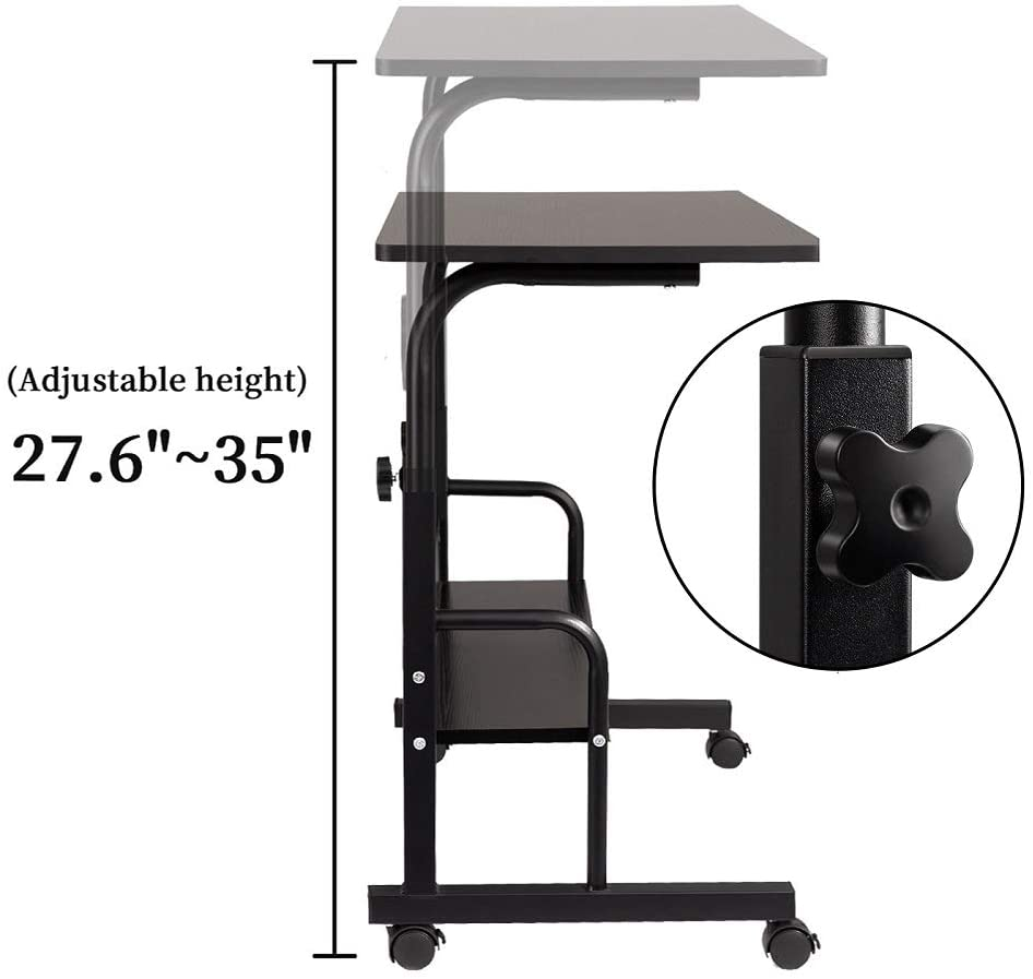 Oak GAJOO Mobile Side Table Mobile Laptop Desk Cart 23.6 Inches Tray Table Adjustable Sofa Side Bed Table Portable Desk with Wheels Student Laptop Desk