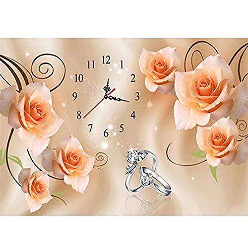 lndytq DIY 5D Kit Pintura de Diamantes Reloj Rosa Anillo Mosaico Punto de Cruz Taladro Redondo Completo Bordado de Diamantes de imitación Artesanía para Adultos Principiante Decoración 40X50Cm