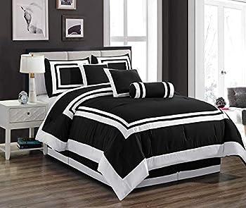 Chezmoi Collection 7 Pieces Caprice Black/White Square Pattern Hotel Bedding Comforter Set  California King Black/White