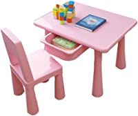 JTKDL Lightweight Table Set for Kids with Storage Compartment Activity Table Chair Set Study Table and Chair for Children Baby Table Set for Drawing (Color : Pink)