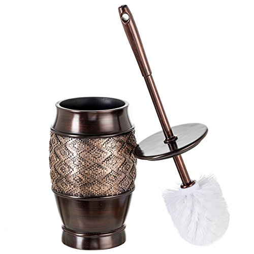 Dublin Decorative Toilet Cleaning Bowl Brush with Holder and Lid - (5' x 5' x 15.5'H) Decorative Bowl Scrubber, Space Saving Design, Contemporary Scrubbing Cleaner (Brown)