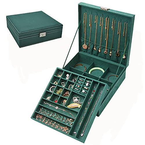 Caja Joyero,Portátil Joyero Viaje Cajas,2 Niveles Caja Joyería de Tabique Extraíble para Joyas para Anillos, Pendientes, Pulseras y Collares,26x26x8cm