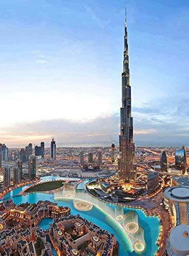 LYBSSG Puzzle für Erwachsene, Wolkenkratzer Burj Khalifa Skyline Dubai 1000 Stück hölzerne Puzzles
