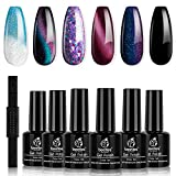 Beetles Milky Way Glitter Gel Nail Polish Set - 6 Colors Collection Black Gel Polish Kit Soak Off Nail Lamp Cat Eyes Magnet Color Changing Glitter Gel Phantom Chameleon Nail Kit Gift Box 7.5 ml Bottle