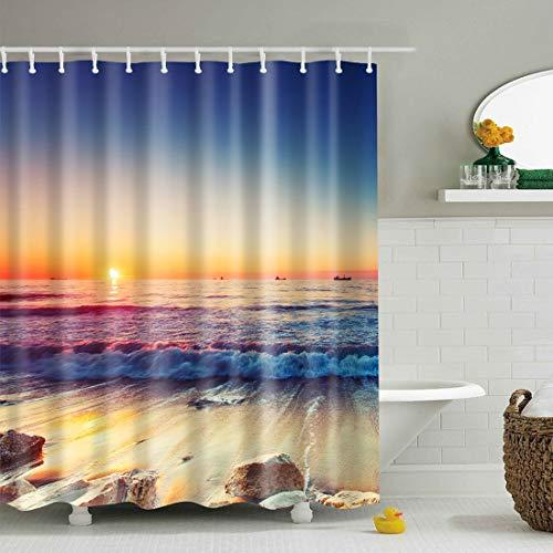 JameStyle26 Duschvorhang Vorhang Digitaldruck inkl. Vorhangringe Anti Schimmel Strand Beach Orient Tier Motiv Badezimmer Badewanne waschbar (Sonne, 180 x 200 cm)