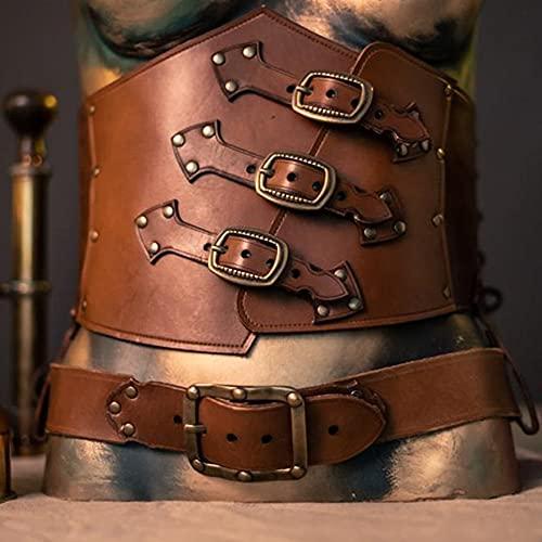 UUK Cinturón De Cuero Medieval Cinturón De Cintura Ancha Steampunk Retro Cosplay Cinturón De Cintura Ajustable con Hebilla De Metal De 3 Filas para Mujeres