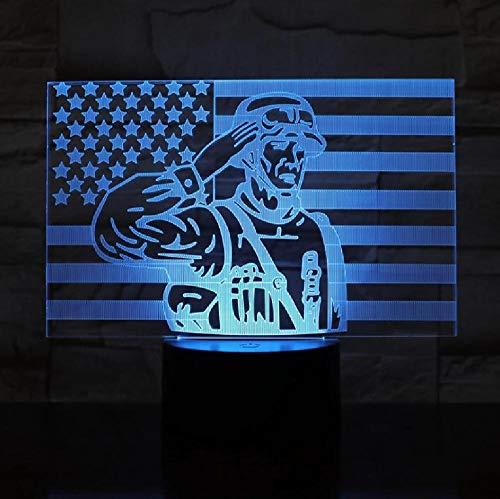 Soldado del ejército 3D ilusión óptica luz táctil sensor bebé niños luz nocturna para la oficina colores lámpara decorativa regalo 3D