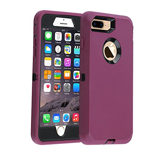 Co-Goldguard Case for iPhone 7 Plus/8 Plus Heavy Duty Armor 3 in 1 Built-in Screen Protector Rugged Cover Dust-Proof Shockproof Scratch-Resistant Shell Compatible with iPhone 7+/8+,Purple/Black