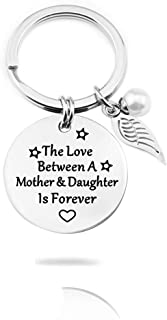 Mom Daughter Gifts Keychain - The Love Between A Mother and Daughter is Forever Pearl Keychain for Birthday Christmas Gifts, Mom Gifts,Daughter Gifts