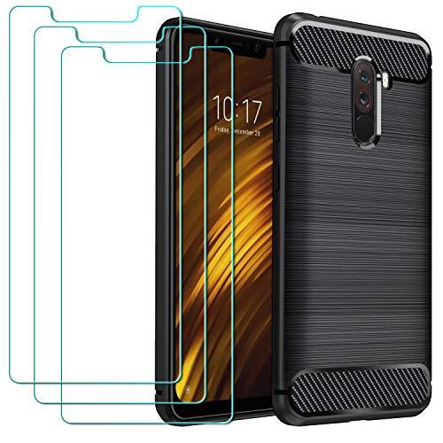 ivoler Funda para Xiaomi Mi Pocophone F1 + 3 Unidades Cristal Templado, Fibra de Carbono Negro TPU Suave de Silicona [Carcasa + Vidrio Templado] Ultra Fina Caso y Protector de Pantalla