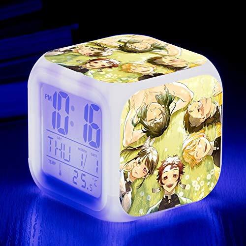 Totots Hashibira inosuke/kamado tanjirou Cuadrado Reloj Creativo Noche luz de Alarma, Agatsuma Zenitsu/Tsuyuri Kanawo Anime Inicio Inicio Reloj de Alarma Colorido Noche Luz, Demon Slayer Mini Deco
