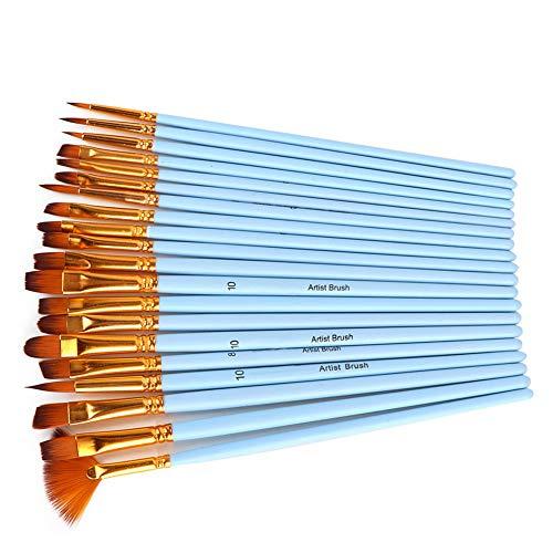 Weikeya Cepillo de Pintura Fuerte, 20pcs Pintura de Pintura Materiales de Calidad Pinceles de Pintura acrílica con Nylon para acrílico (Azul)