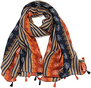 DIEBELLAU Wheat Fringed Scarf Female Summer Travel Sunscreen Sunscreen air Conditioning Shawl Warm Scarf (Color : Orange, Size : 100 * 180cm)
