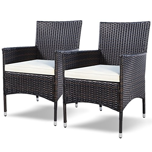 TANGKULA 2 Pcs Patio Armchair Rattan Single Chair Set Outdoor Modern Wicker Rattan PE Furniture Sofa Set W/Cushions Brown(Brown)