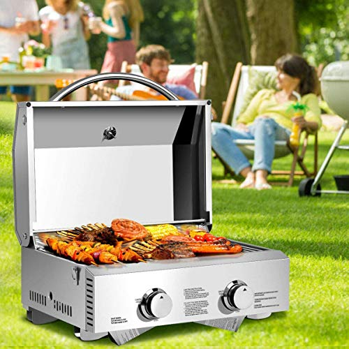 LDAILY Moccha Stainless Steel Propane Tabletop Gas Grill Two-Burner BBQ, with Foldable Leg, 20000 BTU, Perfect for Camping, Picnics or Any Outdoor Use, Silver Grills Propane