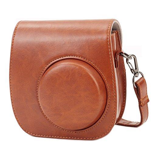 Leebotree Tasche Kompatibel mit Instax Mini 9 / Mini 8 8+ Sofortbildkamera aus Weichem Kunstleder mit Schulterriemen und Tasche (Braun)