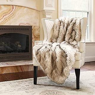 Best Home Fashion Faux Fur Throw - Lap Blanket - Champagne Fox - 54