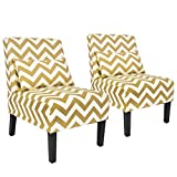 YOUTLITE Accent Chair Armless Elegant Design Yellow Sofa Chair with Lumbar Pillow, Wood Leg, Mid-Century Fabric Chair Set of 2 for Living Room/Bedroom, Single (Set of 2 Yellow Chair)