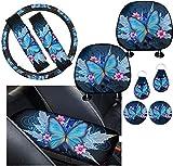 Coloranimal Blue Flower & Butterfly - Juego de 2 fundas para cinturón de seguridad para el coche, 2 unidades