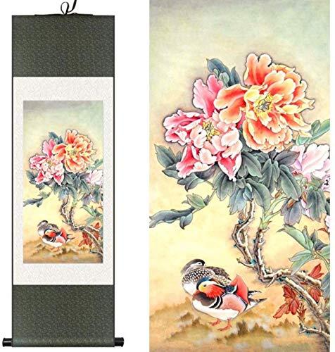 Décorations murales Style chinois La Soie Chinoise Aquarelle Fleur Et Oiseaux Encre Pivoine Canard Mandarin Art Original Toile Mur Damassé Image Encadrée Peinture De...