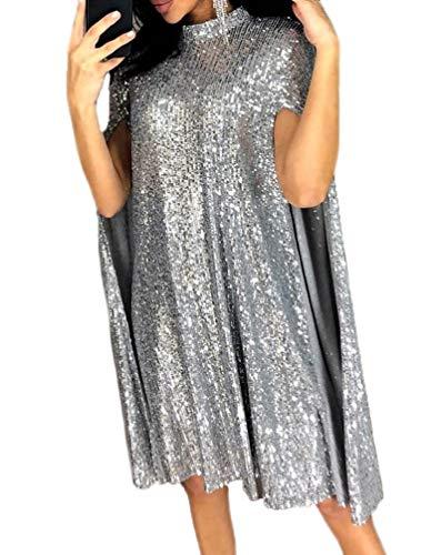 Damen Cocktailkleid Loose 1950er Abendkleid Kurz Paillettenkleid Elegante Festlich Kleider Cocktailkleider Stehkragen Business Kleid (Silber,M)