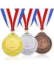 3 Stuks Gouden Zilveren Bronzen Medailles Hoge Kwaliteit Legering Medailles Medailles Met Neklint Olympische Medailles Winnaar Medaille Medailles voor Wedstrijden voor Sport, Wedstrijden, Debatwedstrijd, Feestgeschenk