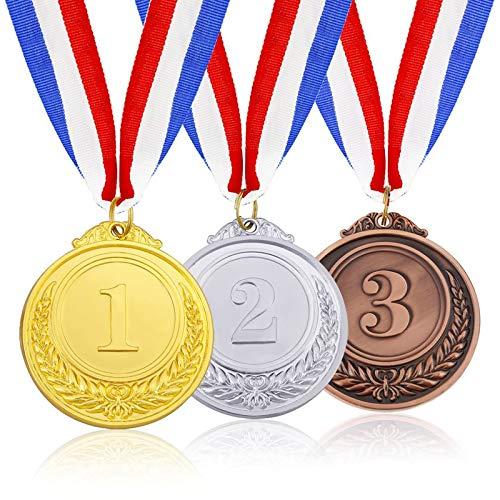 3 Stück Gold Silber Bronze Medaillen Dauerhafte Medaille Hohe Qualität Legierung Medaillen Metall-Medaillen mit Halsband Gewinner Medaillen für Sport, Wettbewerbe, Buchstabierwettbewerbe, Party