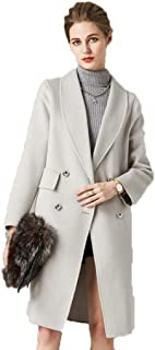 Women's Double-Faced Coat in Long Wool Coat high-Grade Water Wave Double-Sided Coat Warm Coat (Color : White, Size : XS)