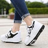 SHANGN Chaussures À roulettes Chaussures De Sport en Plein Air Chaussures De Skate pour Enfants Filles Et Garçons,White-39 EU