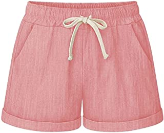 CHARTOU Women's Summer Casual Drawstring Waisted Linen Clothing Shorts