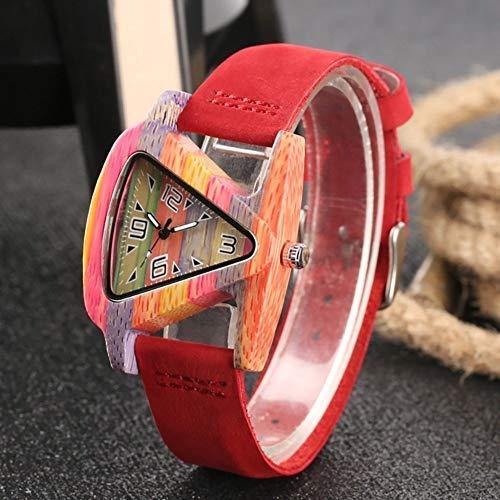 AZDS Reloj de Madera para Mujer, diseño novedoso, Forma Triangular, Cuarzo, bambú con Correa de Cuero, Reloj Informal, Regalos para Mujer