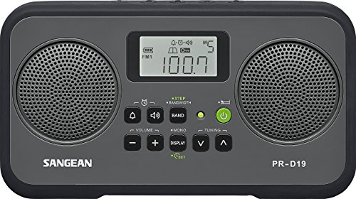 Sangean PR-D19BK FM Stereo/AM Digital Tuning Portable Radio with Protective Bumper (Gray/Black) (Renewed)