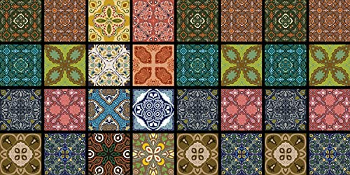 De'Carpet Alfombra VINILICA Estampada Vinilo Base Goma Natural FÁCIL Limpieza 100% Antideslizante Acolchada BALDOSA Multicolor Trona (57X115cm)