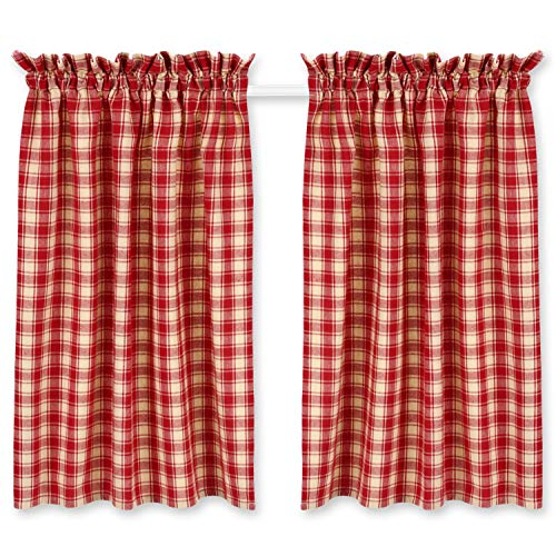 Cackleberry Home Red and Cream French Check Cafe Curtains Woven Cotton 28 Inches W x 36 Inches L, Set of 2