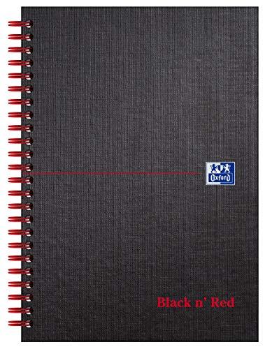 Oxford Black n' Red - Cuaderno de espiral doble (con rayas, 140 páginas, A5, tapa dura, 90 g/m², perforado), color negro y rojo