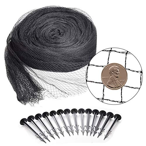 Pond Netting Kit 15 x 20 Feet, Equipped with Ultra-Fine Mesh, Protecting Koi Fish from Birds and Cats, Skimmer Net Screen for Falling Leaves and Debris, 14 Fixing Stakes