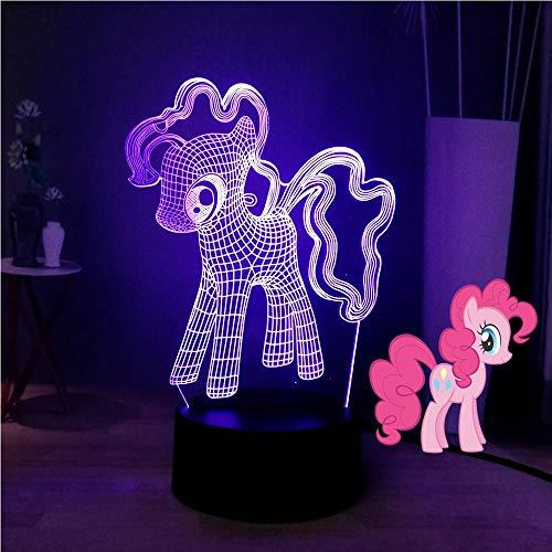 shiyueNB Mon Petit Poney 3D Optique Lampe De Table De Bande Dessinée Terre Poney PinkiePie LED Sommeil Nuit Lumière Mignon Tag Sourire Enfants Cadeau d'anniversaire Jouets