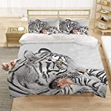 Bedclothes-Blanket Chicas Duvet Cover Set King 220x230 cm Animal Tiger 3D Pattern 3 Piezas Conjunto de Ropa de Cama Microfibra Cubierta de edredón con 2 pillowcasas, para niños Adultos-1_220 * 240 cm