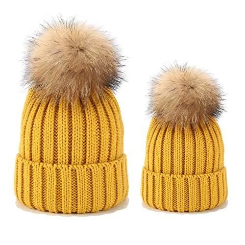 Gorro de punto para padres e hijos, conjunto de sombrero para madre...