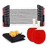 FOOING Sets de Ping Pong, 1 Red de Tenis de Mesa, 2 Palas de Ping Pong, 3 Pelotas de Ping Pong con Bolsa, Portátil para el Juego Interior al Aire Libre (Rojo/Negro)